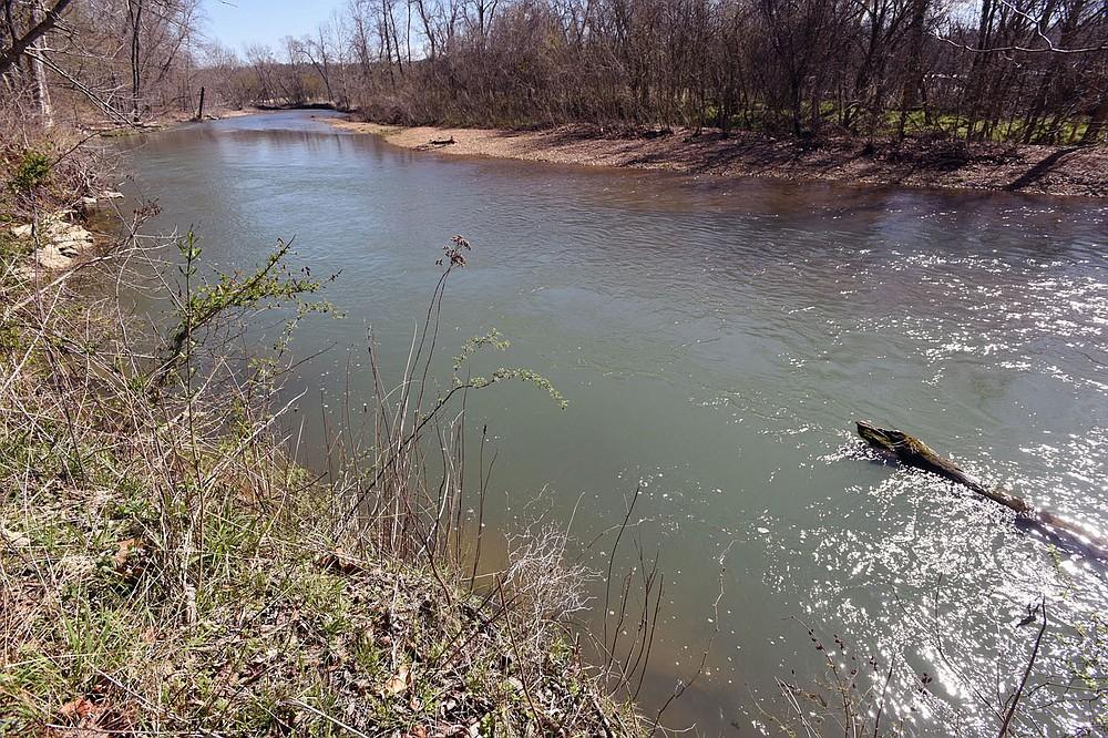 Trails follow Little Sugar Creek at water level and high above the stream. (NWA Democrat-Gazette/Flip Putthoff)
