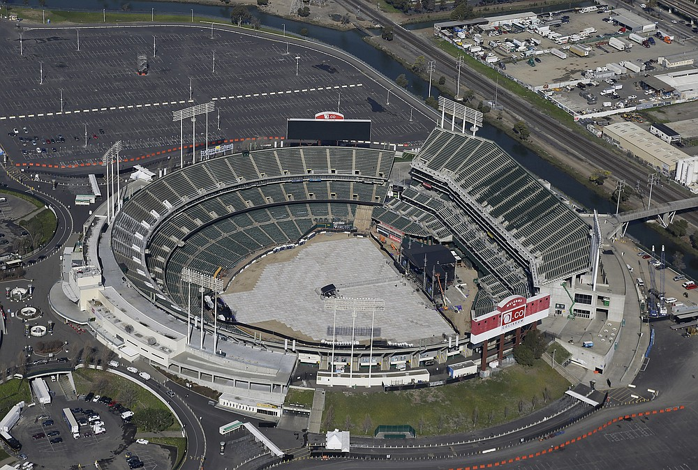 """FILE - This Feb. 5, 2016, file photo shows the Oakland–Alameda County Coliseum, home to the Oakland Athletics, in Oakland, Calif.  Major League Baseball instructed the Athletics to explore relocation options as the team tries to secure a new ballpark it hopes will keep the club in Oakland in the long term. MLB released a statement Tuesday, May 11, 2021, expressing its longtime concern that the current Coliseum site is """"not a viable option for the future vision of baseball.""""(AP Photo/Eric Risberg, File)"""