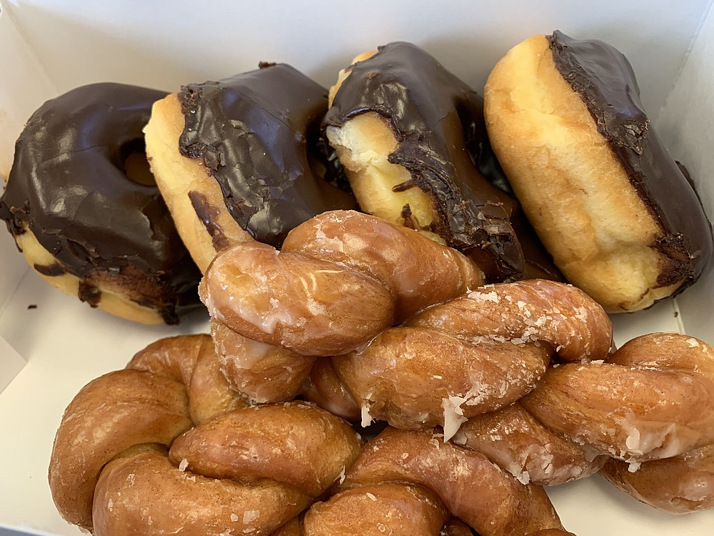By the time we got to Mark's Do-Nut Shop on North Little Rock's Camp Robinson Road, what was left included the last four chocolate iced donuts and two cinnamon twists. (Arkansas Democrat-Gazette/Eric E. Harrison)
