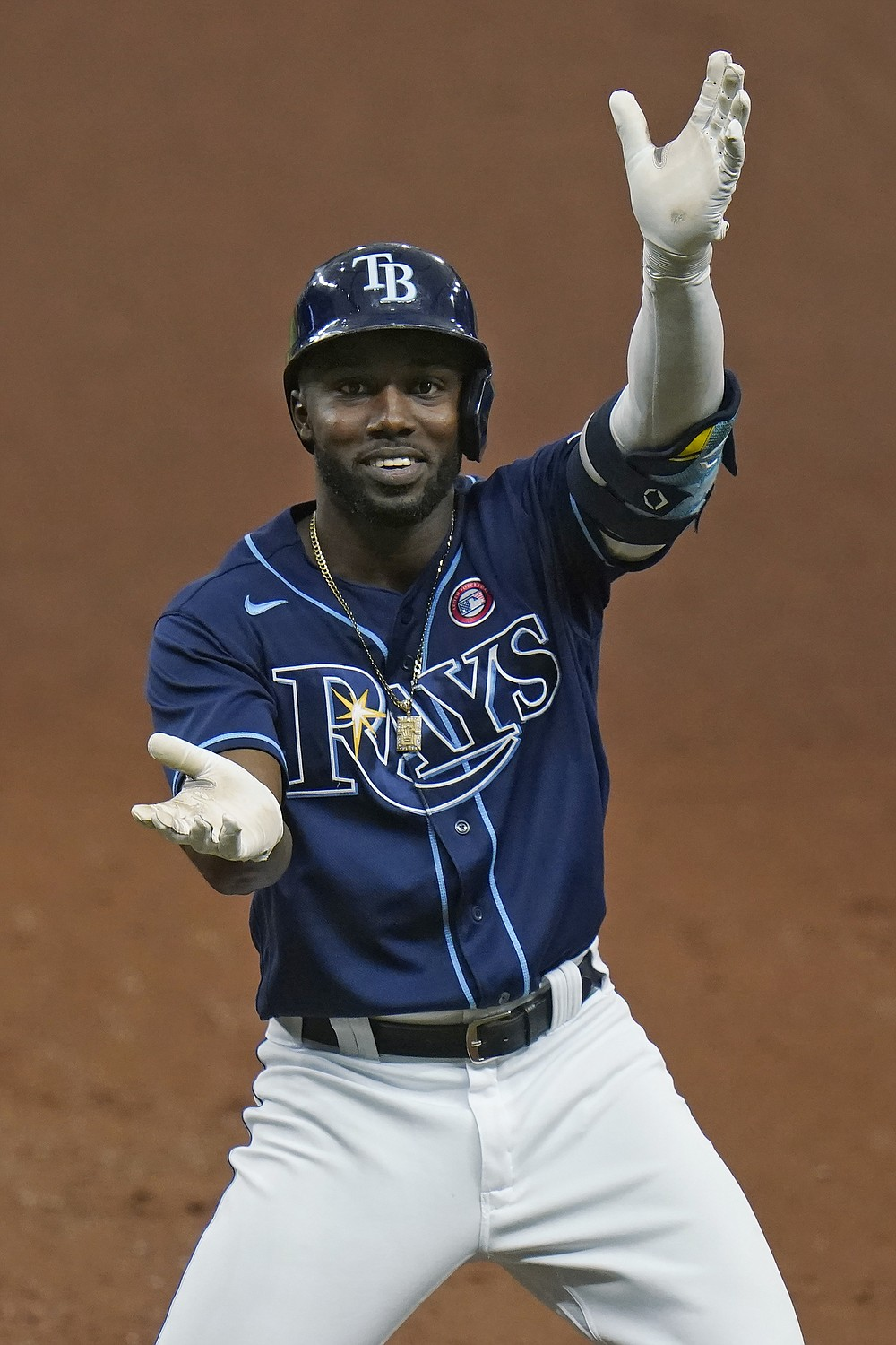 Tampa Bay Rays' Randy Arozarena celebrates after his RBI single off New York Mets relief pitcher Sean Reid-Foley scored Austin Meadows during the fourth inning of a baseball game Saturday, May 15, 2021, in St. Petersburg, Fla. (AP Photo/Chris O'Meara)