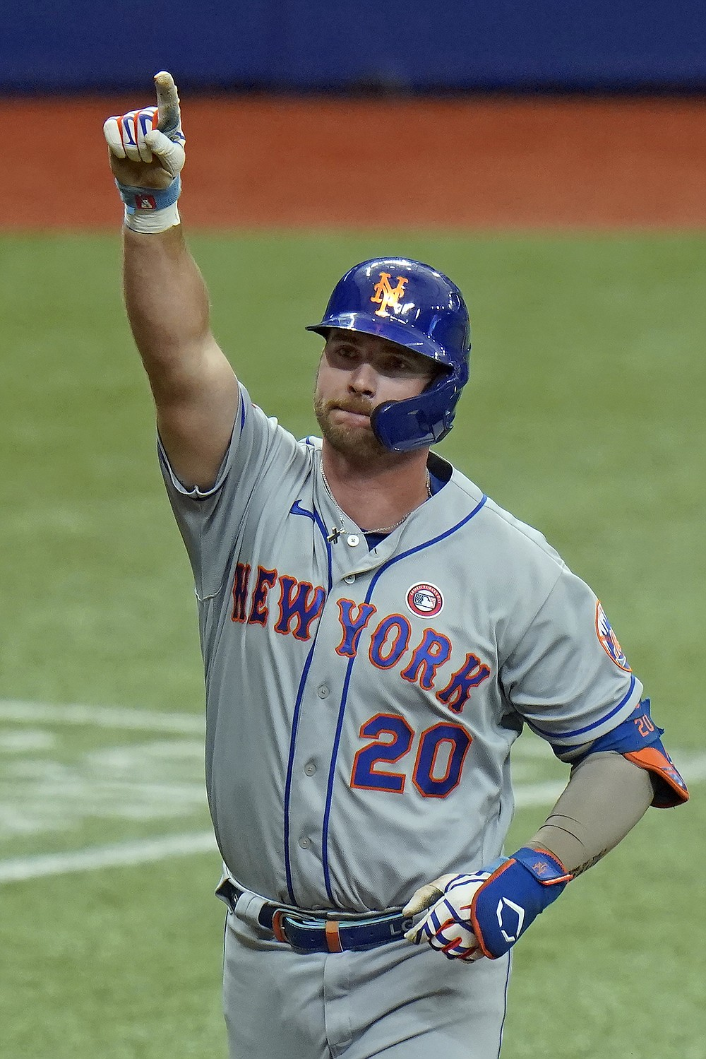 New York Mets' Pete Alonso reacts after his solo home run off Tampa Bay Rays starting pitcher Shane McClanahan during the third inning of a baseball game Saturday, May 15, 2021, in St. Petersburg, Fla. (AP Photo/Chris O'Meara)