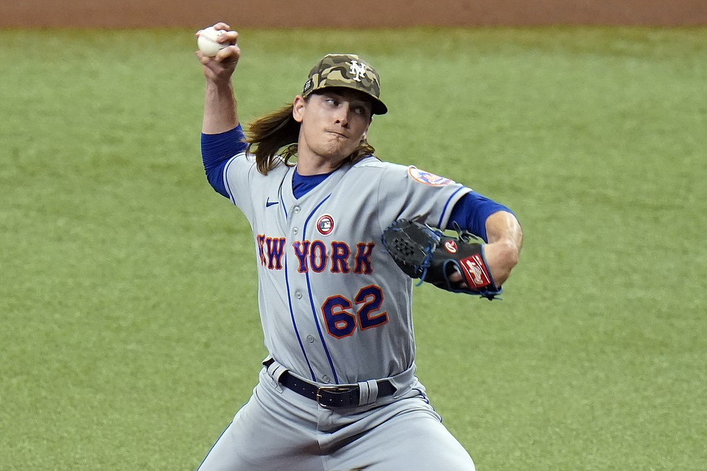 New York Mets' Drew Smith pitches to the Tampa Bay Rays during the first inning of a baseball game Saturday, May 15, 2021, in St. Petersburg, Fla. (AP Photo/Chris O'Meara)
