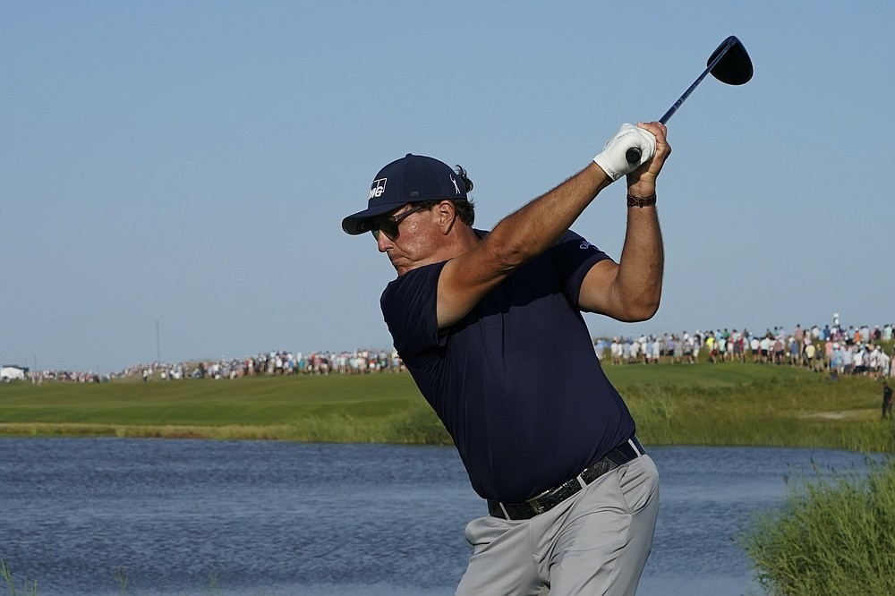 Phil Mickelson hits off the 16th tee during the final round at the PGA Championship golf tournament on the Ocean Course, Sunday, May 23, 2021, in Kiawah Island, S.C. (AP Photo/Matt York)