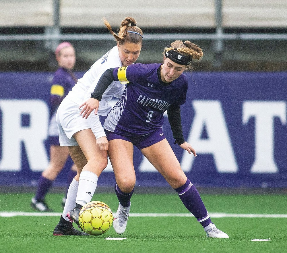 Maddie Wilburn (right) had 14 goals and 10 assists to lead the Fayetteville girls to the state soccer championship in Class 6A.