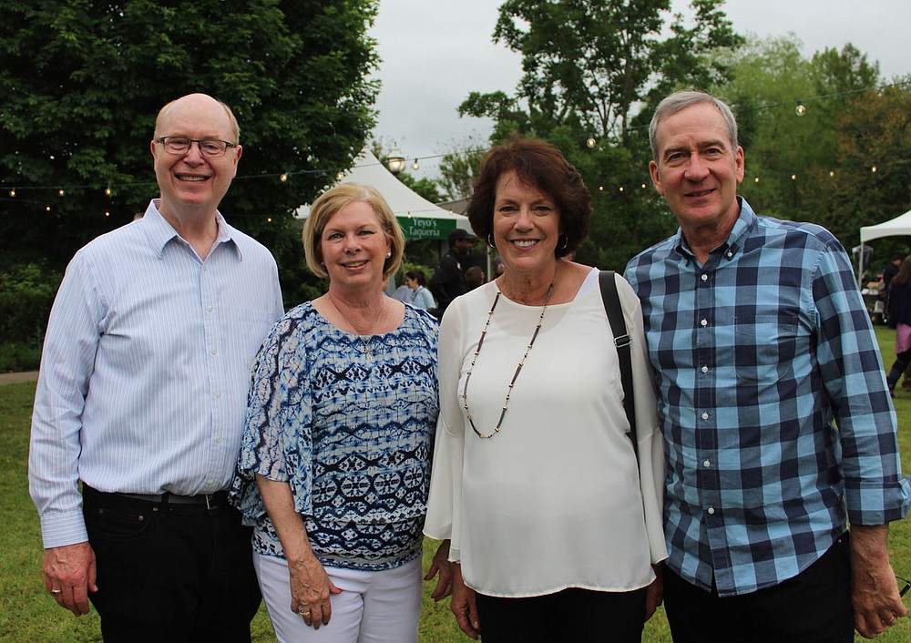Tom and Barbara Verdery (from left) and Ann and Mike Hernick attend Chefs in the Garden.  (NWA Democrat-Gazette/Carin Schoppmeyer)