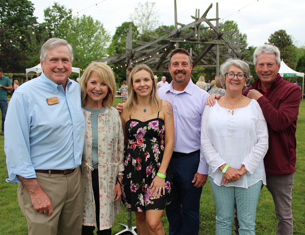Bob and Carlena Lambert (from left), Megan Rose and Marko Hardin and Karen and Gary Compton gather at Chefs in the Garden. (NWA Democrat-Gazette/Carin Schoppmeyer)