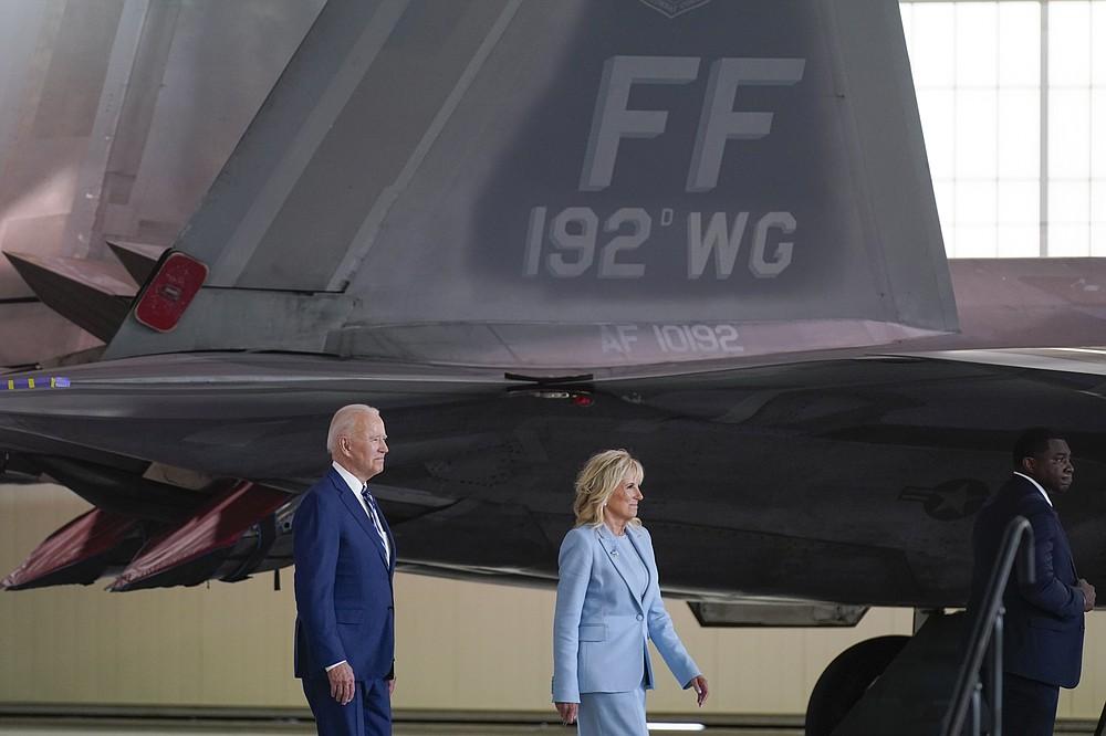 President Joe Biden and first lady Jill Biden arrive to speak at Joint Base Langley-Eustis in Hampton, Va., Friday, May 28, 2021. (AP Photo/Patrick Semansky)