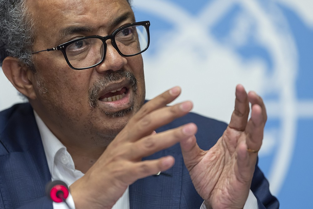 """FILE - In this Thursday, March 14, 2019 file photo, Tedros Adhanom Ghebreyesus, Director-General of the World Health Organization (WHO) speaks at the European headquarters of the United Nations in Geneva, Switzerland about the update on WHO Ebola operations in the Democratic Republic of the Congo (DRC). The head of the World Health Organization acknowledged the U.N. agency's response to allegations of sexual abuse perpetrated by its own staffers during an Ebola outbreak in Congo was """"slow"""" after being pressed on the issue by numerous countries following an Associated Press investigation that revealed senior management were informed about sexual misconduct complaints.  (Martial Trezzini/Keystone via AP, File)"""