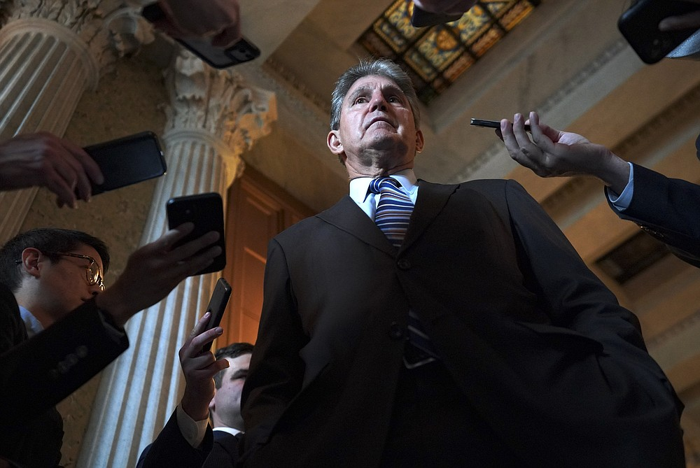 Sen. Joe Manchin speaks with journalists after the GOP blocked the Jan. 6 commission through a procedural measure on May 28, 2021. Manchin was frustrated that the bill was blocked. MUST CREDIT: Washington Post photo by Bonnie Jo Mount