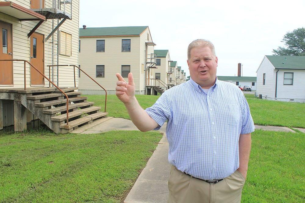 Fort Chaffee Redevelopment Authority Director Daniel Mann discusses the renovation of the Buckhorn Street Barracks for residential and commercial spaces on Thursday, May 27, 2021 in Fort Chaffee.