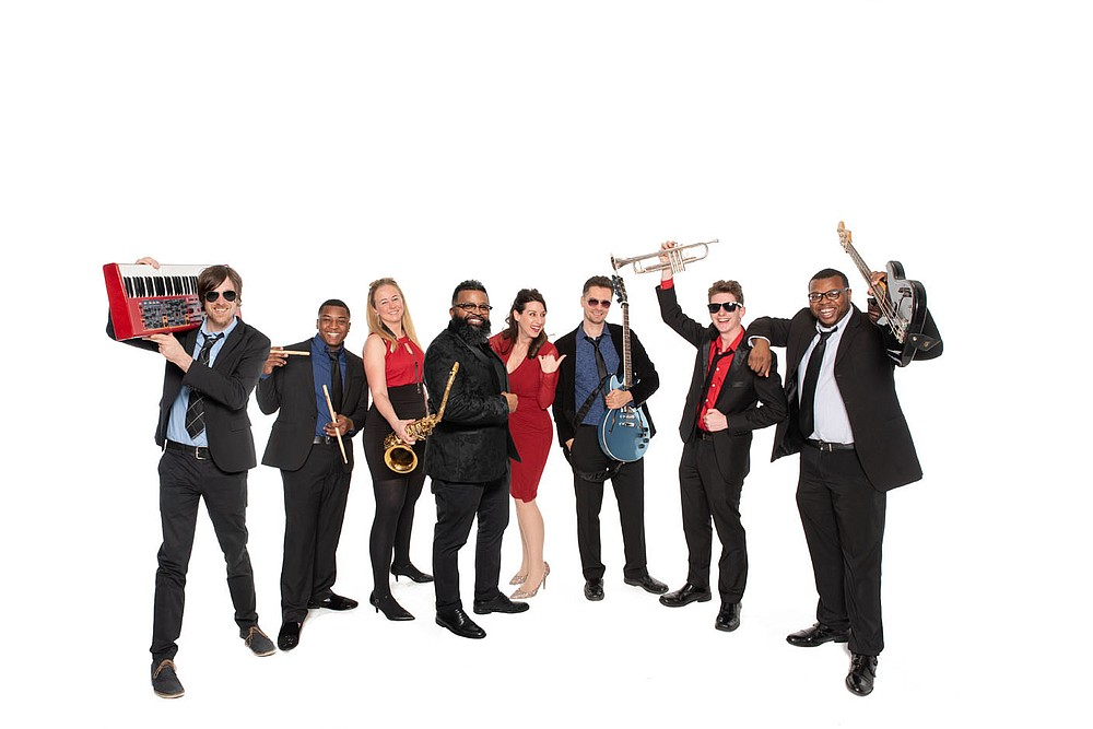 One of Northwest Arkansas' favorite party bands, Jukeboxx will kick off the 25th anniversary for Fayetteville iconic Gulley Park Concert Series on June 24. The high energy, stylish group will also bring their cross-generational hits to Happy Hour at the Walmart AMP June 11 and to Rogers for the Railyard Live series July 24.  (Courtesy Photo/Brandon Watts Photography)