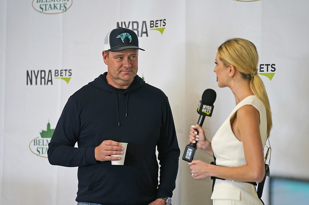 Trainer Doug O'Neill is interviewed after the post-position draw for the 153rd running of the Belmont Stakes horse race at Belmont Park in Elmont, N.Y., Tuesday, June 1, 2021.  (AP Photo/Seth Wenig)