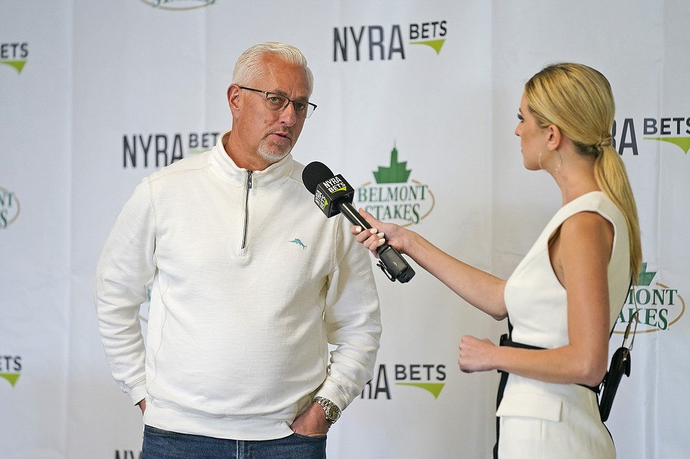 Trainer Todd Pletcher is interviewed after the post-position draw for the 153rd running of the Belmont Stakes horse race at Belmont Park in Elmont, N.Y., Tuesday, June 1, 2021. Essential Quality was set as a 2-1 favorite for the Belmont Stakes, which will be run without a horse from trainer Bob Baffert pending an investigation into Medina Spirit's failed drug test after winning the Kentucky Derby. (AP Photo/Seth Wenig)