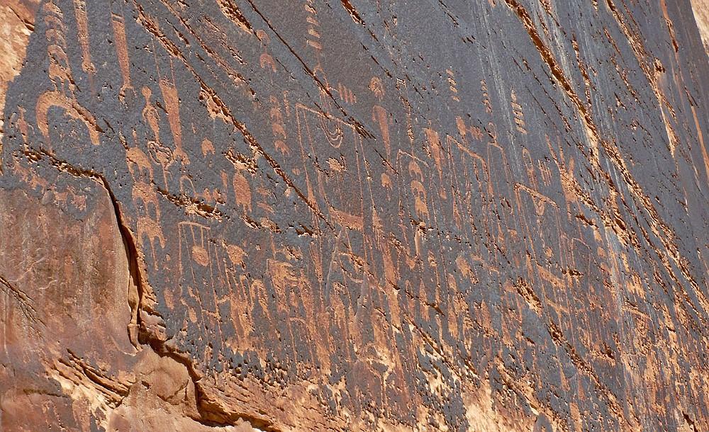 The Butler Wash petroglyph panel, seen here in April 2021, is along the San Juan River. (NWA Democrat-Gazette/David Gottschalk)