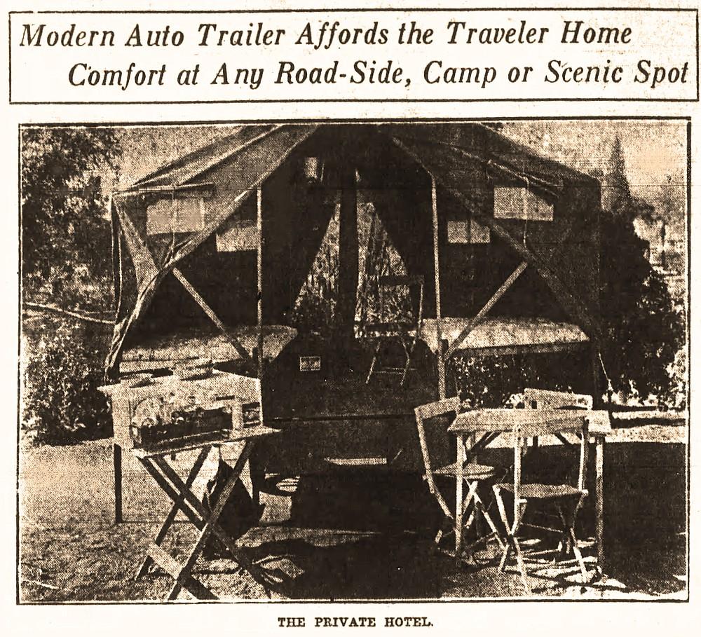 This photo from the June 5, 1921, Gazette shows Stanley S. Marx's Komfy Kamping Trailer unfolded for camping. (Arkansas Democrat-Gazette)