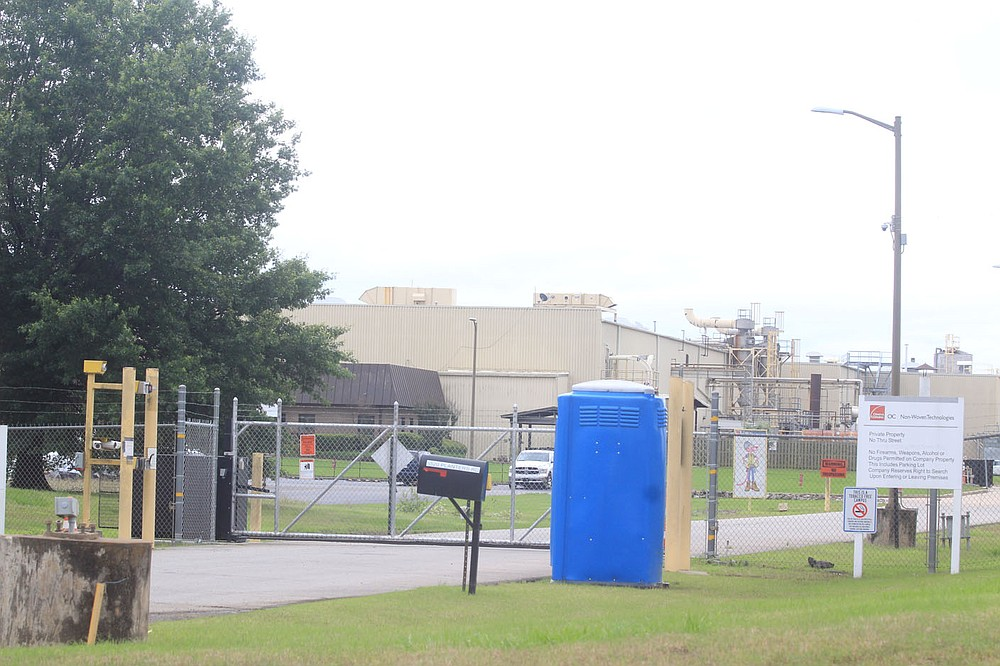The north entrance to the Owens Corning plant in the Fort Smith area is seen Wednesday, June 2, 2021.
