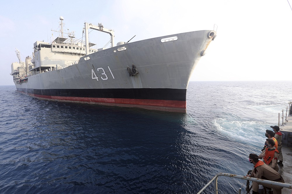 This undated photo provided by the Iranian army shows navy's support ship Kharg. Kharg, the largest warship in the Iranian navy caught fire and later sank Wednesday, June 2, 2021 in the Gulf of Oman under unclear circumstances, semiofficial news agencies reported. (Iranian army via AP)