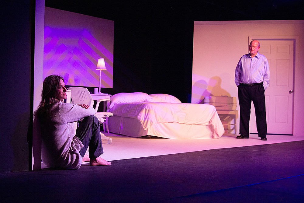 """Heather Dupree and Duane Jackson onstage in """"Hillary and Clinton"""" at the Studio Theater: The show is one of 12 the American Association of Community Theatre has chosen for its Virtual AACTFest 2021. (Special to the Democrat-Gazette/Matthew Sewell)"""