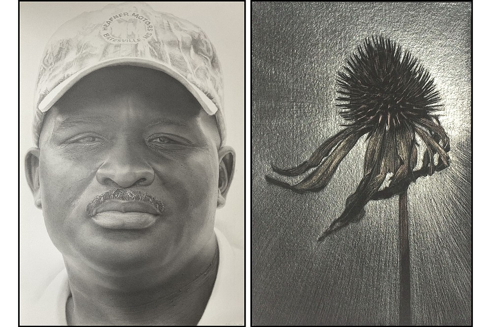 """""""Meeting in Oneida at Lee's Grocery"""" from Aj Smith's """"Faces of the Delta"""" series and """"Strong"""" by Marjorie Williams-Smith are on display through June 23 at the South Arkansas Arts Center in El Dorado. (Special to the Democrat-Gazette)"""