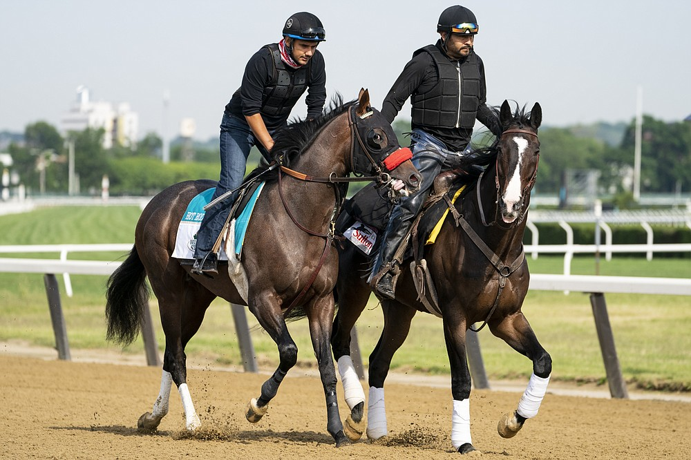 Belmont stakes entrant Hot Rod Charlie, left, and his companion horse Lava Man, right, are led onto the main track for a training run ahead of the 153rd running of the Belmont Stakes horse race, Wednesday, June 2, 2021, at Belmont Park in Elmont, N.Y. (AP Photo/John Minchillo)
