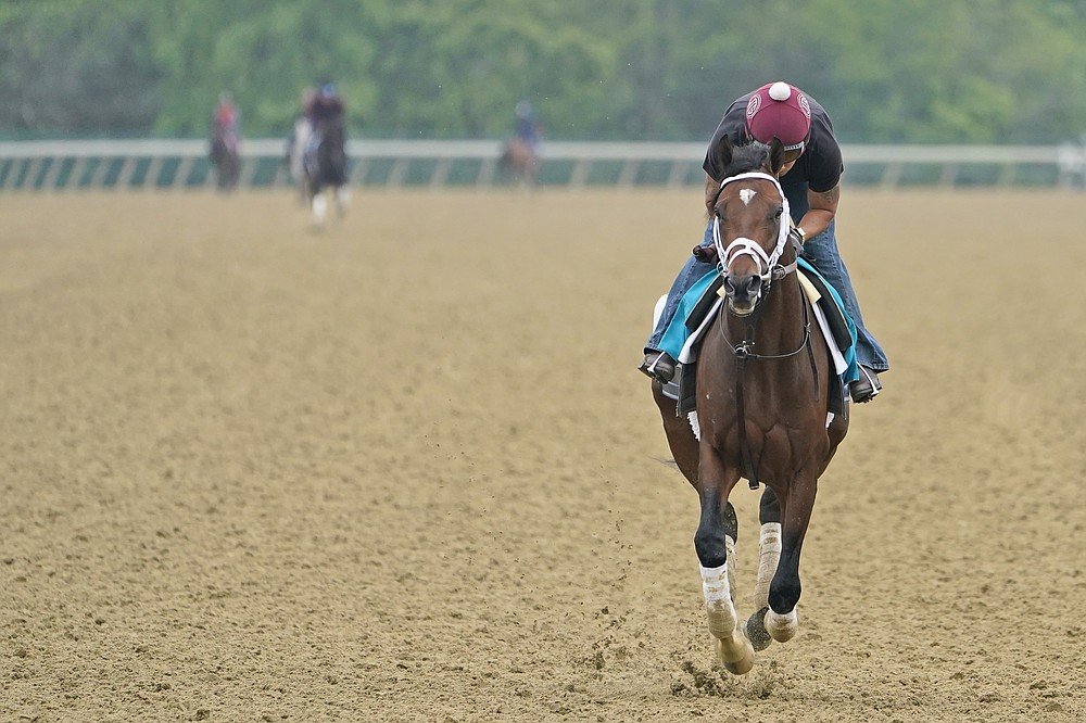 Rombauer trains the day before the 153rd running of the Belmont Stakes horse race in Elmont, N.Y., Friday, June 4, 2021. (AP Photo/Seth Wenig)
