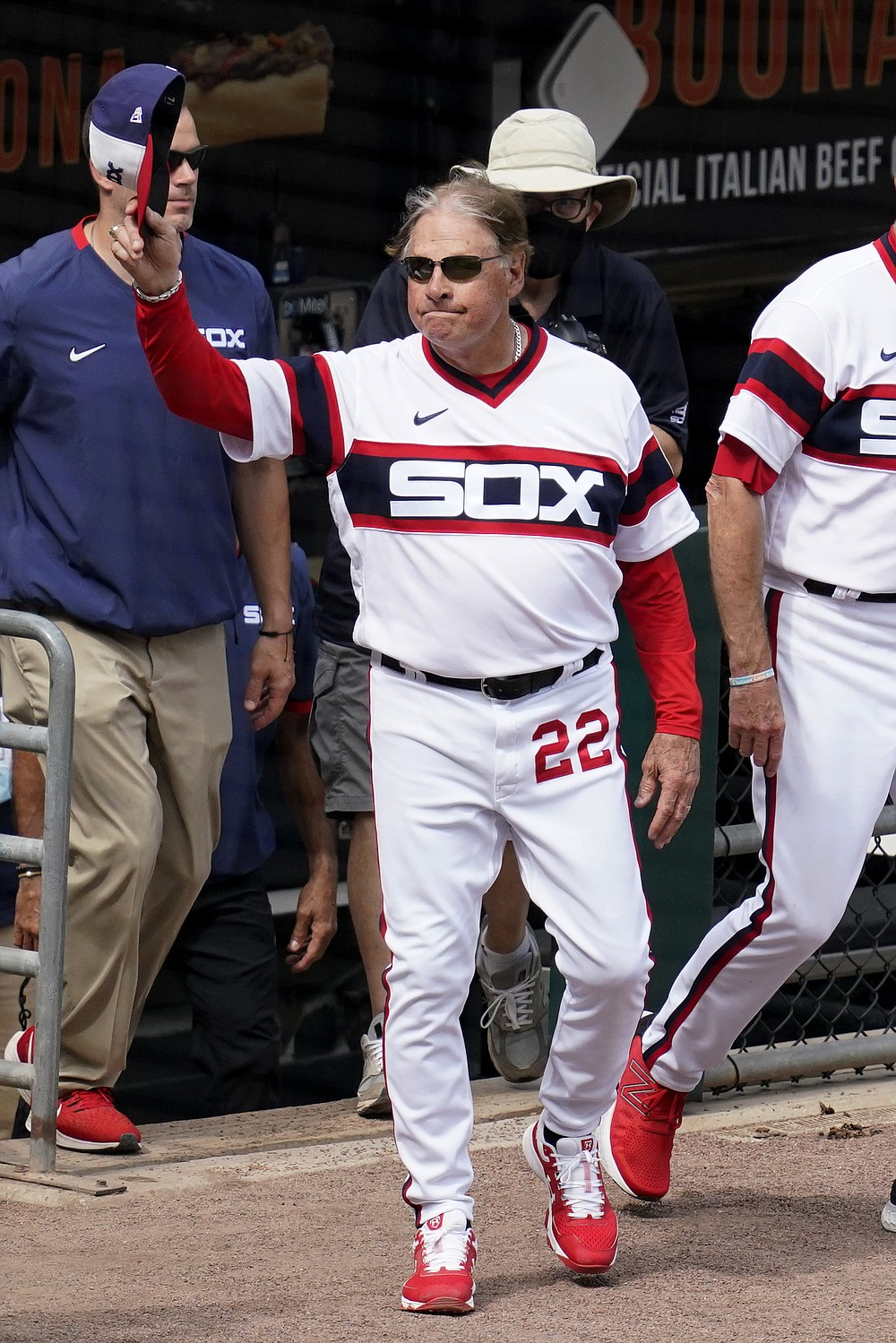 Chicago White Sox manager Tony La Russa waves to fans after his team defeated the Detroit Tigers in a baseball game in Chicago, Sunday, June 6, 2021. La Russa is second on the managerial career wins list with 2,764. (AP Photo/Nam Y. Huh)