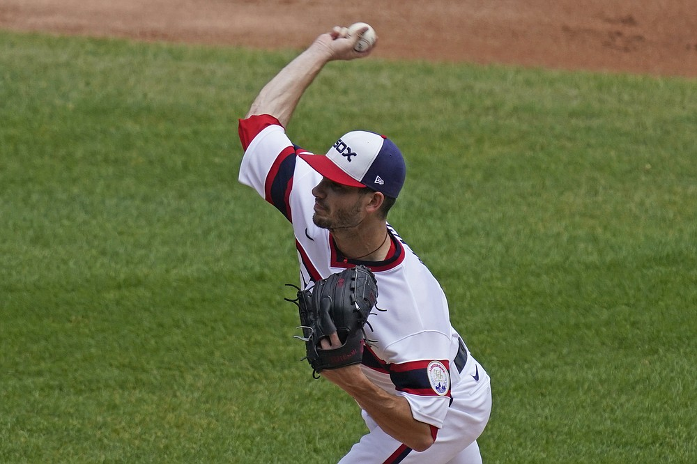 Chicago White Sox starting pitcher Dylan Cease throws against the Detroit Tigers during the first inning of a baseball game in Chicago, Sunday, June 6, 2021. (AP Photo/Nam Y. Huh)