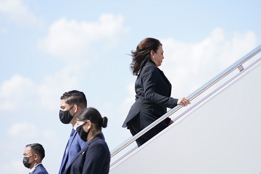 Vice President Kamala Harris boards Air Force Two as she leaves Andrews Air Force Base, Md., Sunday, June 6, 2021, en route to Guatemala City. Shortly after the plane was returned to the Air Force Base due to a technical issue. (AP Photo/Jacquelyn Martin)