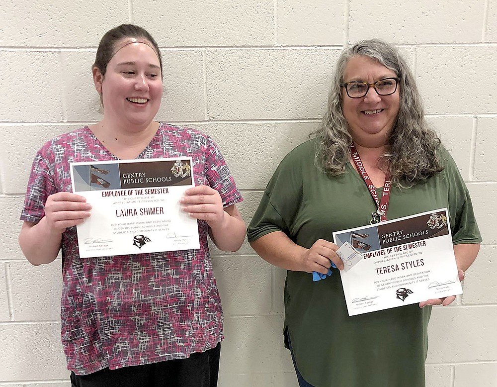 SUBMITTED Laura Shimmer and Teresa Styles received classified employee of the semester awards for their work in the Gentry Public Schools.