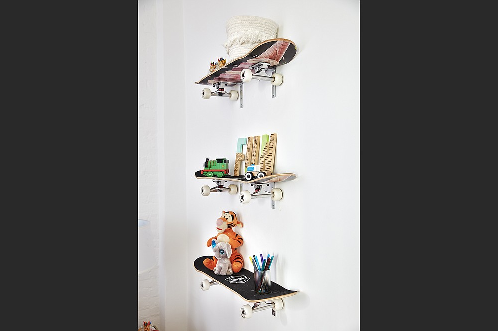 Skateboards serve as clever shelves in this child's bedroom. (Scott Gabriel Morris/Handout/TNS)