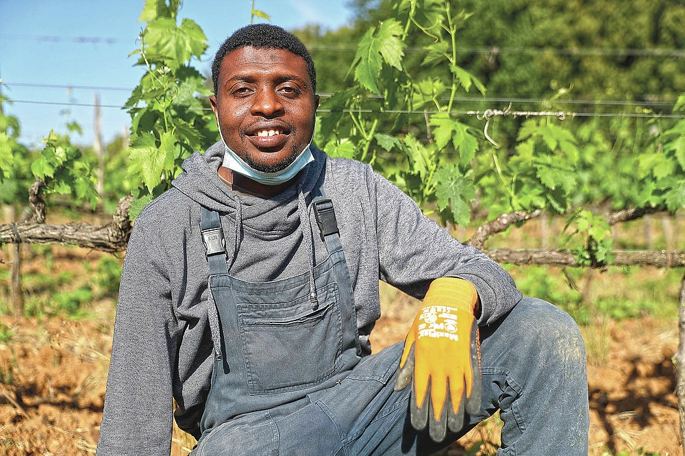 Sales Godge, 33 years-old, of Burkina Faso, poses for a picture at the Nardi vineyard in Casal del Bosco, Italy, Friday, May 28, 2021. It is a long way, and a risky one. But for this group of migrants at least it was worth the effort. They come from Ghana, Togo, Sierra Leone, Pakistan, Guinea Bissau, among other countries. They all crossed the Sahara desert, then from Libya the perilous Mediterranean Sea until they reached Italian shores, now they find hope working in the vineyards of Tuscany to make the renown Brunello wine. (AP Photo/Gregorio Borgia)