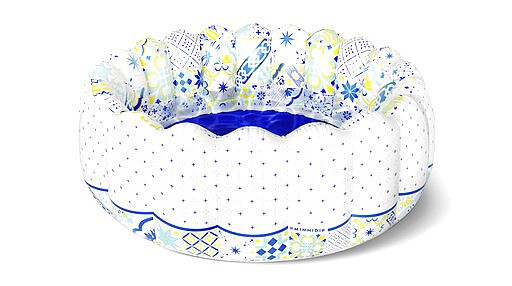Patterns on Minnidip's Amalfi model is a nod to the blue, yellow and white tile of the Italian coast. (Minnidip via AP)