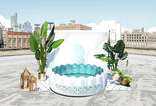 """Minnidip makes inflatable """"adult kiddie pools"""" that aim to transport you to some exotic travel destination. Patterns on the Marrakesh pool reference Moroccan architectural details. (Minnidip via AP)"""
