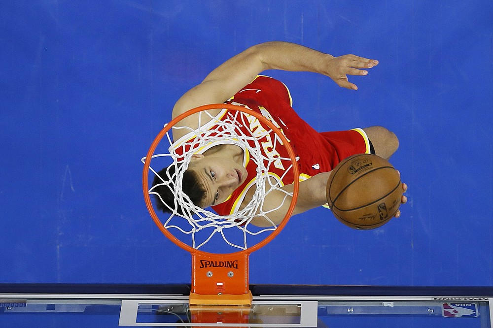 Atlanta Hawks' Bogdan Bogdanovic goes up for a shot during the second half of Game 2 in a second-round NBA basketball playoff series against the Philadelphia 76ers, Tuesday, June 8, 2021, in Philadelphia. (AP Photo/Matt Slocum)