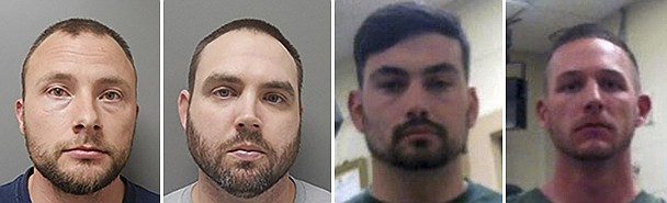 """FILE - This combination of photos provided by the Ouachita Correctional Center and Franklin Parish Sheriff's Office shows, from left, Louisiana State Police Troopers Jacob Brown, Randall Dickerson, George Harper and Dakota DeMoss. Court filings show Louisiana State Police troopers joked in a group text about beating a Black man after a high-speed chase, saying the beating would give the man """"nightmares for a long time."""" The May 2020 arrest of Antonio Harris bears strong resemblance to the State Police pursuit a year earlier that ended in the death of Ronald Greene. (Ouachita Correctional Center and Franklin Parish Sheriff's Office via AP)"""