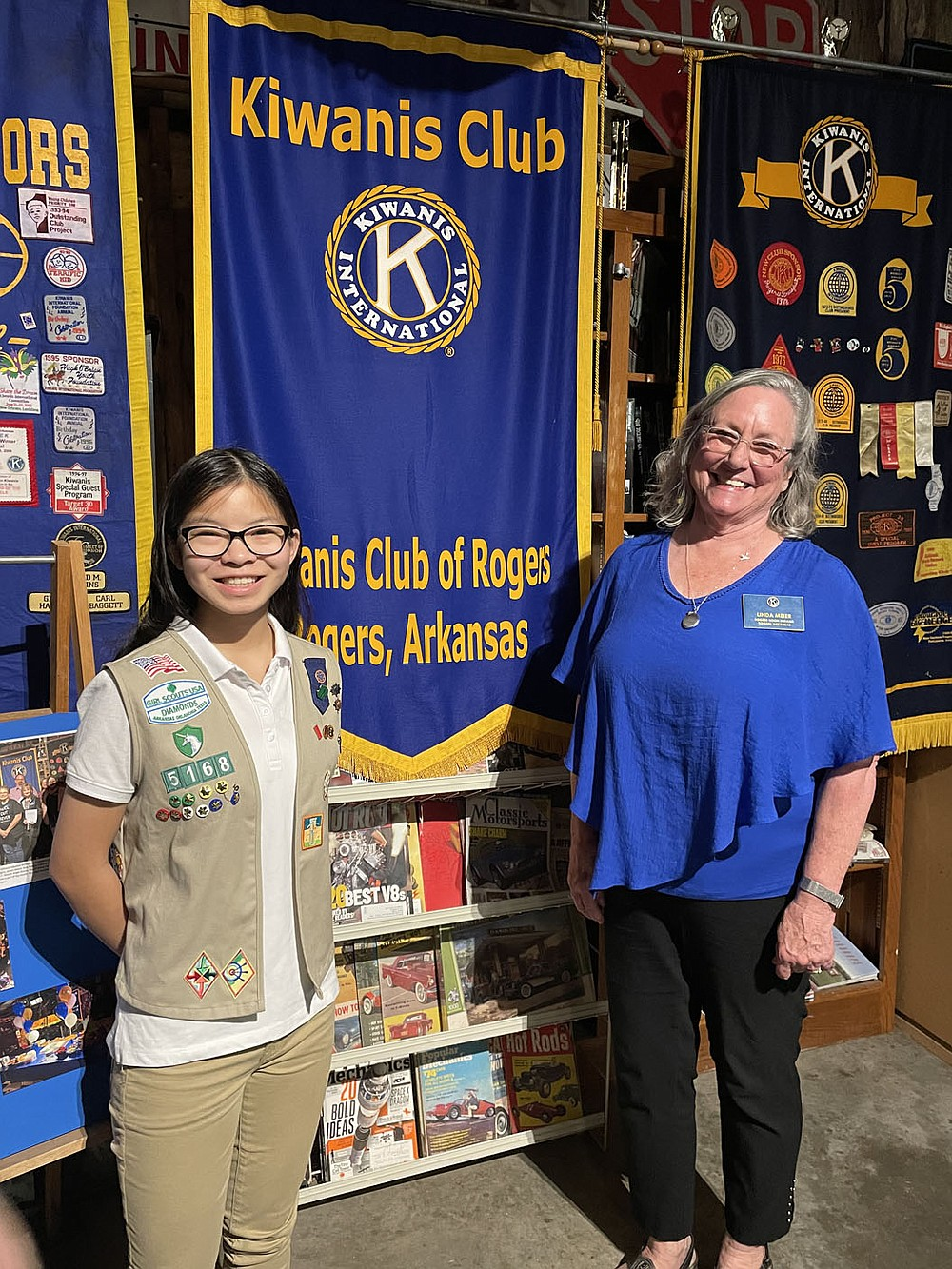 Linda Meier, president ofThe Kiwanis Club of Rogers Noon, welcomed Nicole McKellar as guest speaker. She is a student at Rogers High School and is working on the top honor of Girl Scouts by speaking and educating the club on Pollinators. She handed out seeds to be planted and gave information on the importance of planting and maintaining flower beds that help the butterflies, bees, etc. thrive in our area.  (Courtesy Photo)