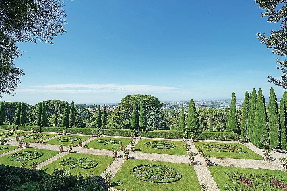 A view of the gardens of the Papal Palace in Castel Gandolfo, some 30 kilometers southeast of Rome, Saturday, May 29, 2021. As Covid-19 restrictions are slowly being lifted in Italy, thousands of people are returning to visit the extensive gardens and apartments at the Papal Palace of Castel Gandolfo in the Alban Hills near Rome, that for hundreds of years have been the summer retreat for Popes seeking to escape the suffocating heat of Rome. (AP Photo/Andrew Medichini)
