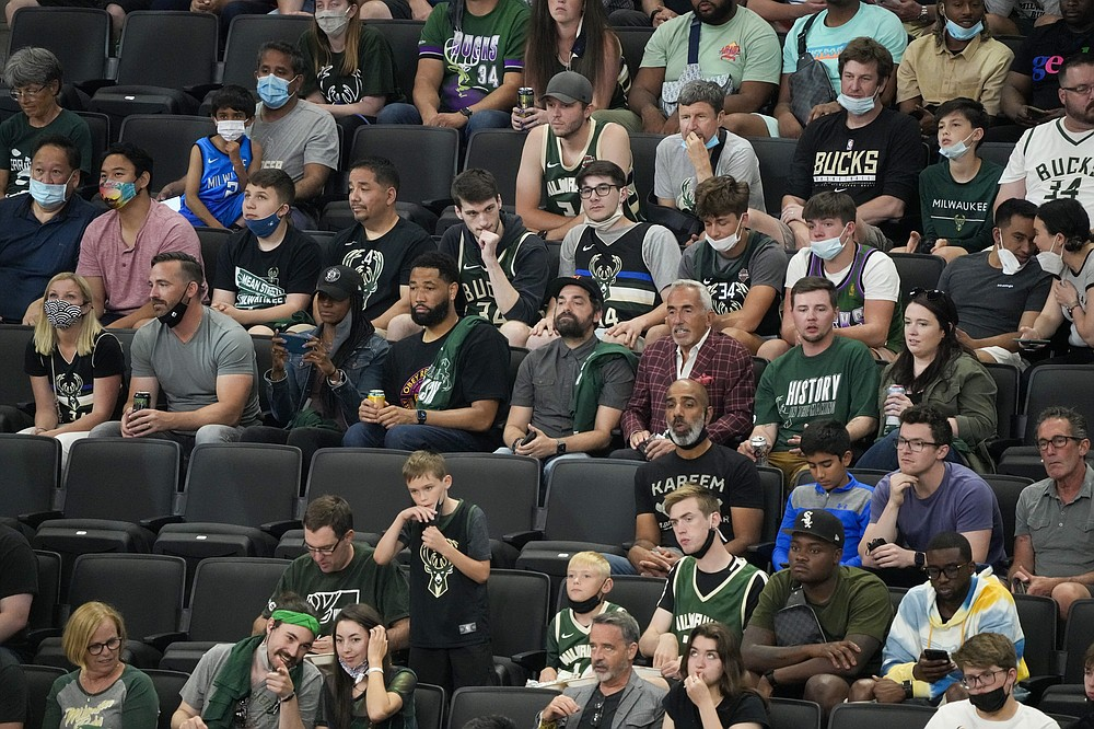 Fiserv Forum is at full capacity for the first time in over a year during the first half of Game 3 of the NBA Eastern Conference basketball semifinals game between the Milwaukee Bucks and the Brooklyn NetsThursday, June 10, 2021, in Milwaukee. (AP Photo/Morry Gash)