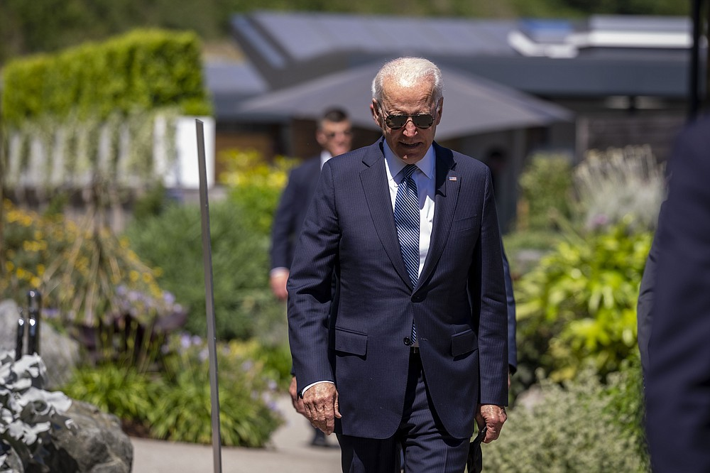 President Joe Biden arrives for the final session of the G-7 summit in Carbis Bay, England, Sunday, June 13, 2021. (Doug Mills/The New York Times via AP, Pool)