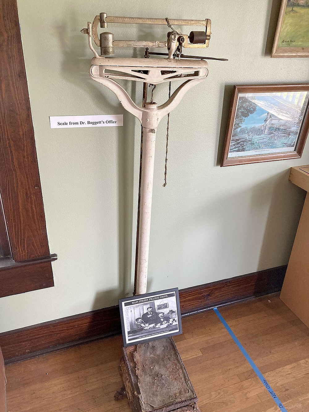 MAYLON RICE SPECIAL TO ENTERPRISE-LEADER This scale from Dr. Bagget's medical office in Prairie Grove can be viewed at the Prairie Grove Heritage Museum on Buchanan Street.