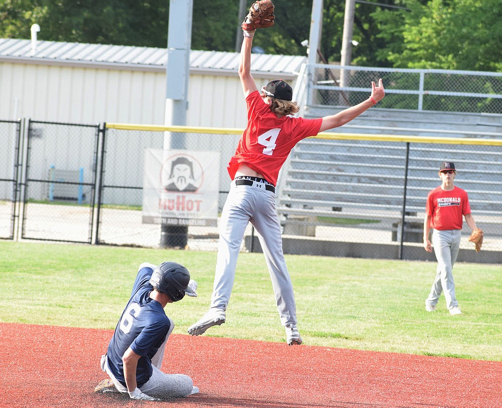 RICK PECK/SPECIAL TO MCDONALD COUNTY PRESS McDonald County second baseman Devin Stones skies for a high throw during the McDonald County 16U baseball team's 9-6 win over Joplin in an 8-on-8 league game on June 8 at Joe Becker Stadium in Joplin.