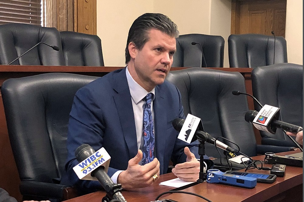 In this April 17, 2019, photo, Indiana Senate Appropriations Committee Chairman Ryan Mishler speaks during a news conference at the Indiana Statehouse in Indianapolis. Mishler's committee dedicated $75 million from the state's 2021 federal COVID-19 relief funding toward a new program helping workers obtain short-term training certifications despite the concept receiving little public discussion and few details on the money would be spent.  (AP Photo/Tom Davies)