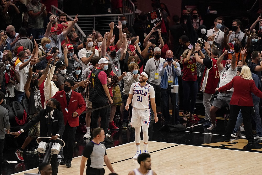 Philadelphia 76ers' Seth Curry (31) reacts after missing a basket at the buzzer at the end of the second half of Game 4 of a second-round NBA basketball playoff series against the Atlanta Hawks, Monday, June 14, 2021, in Atlanta. (AP Photo/Brynn Anderson)