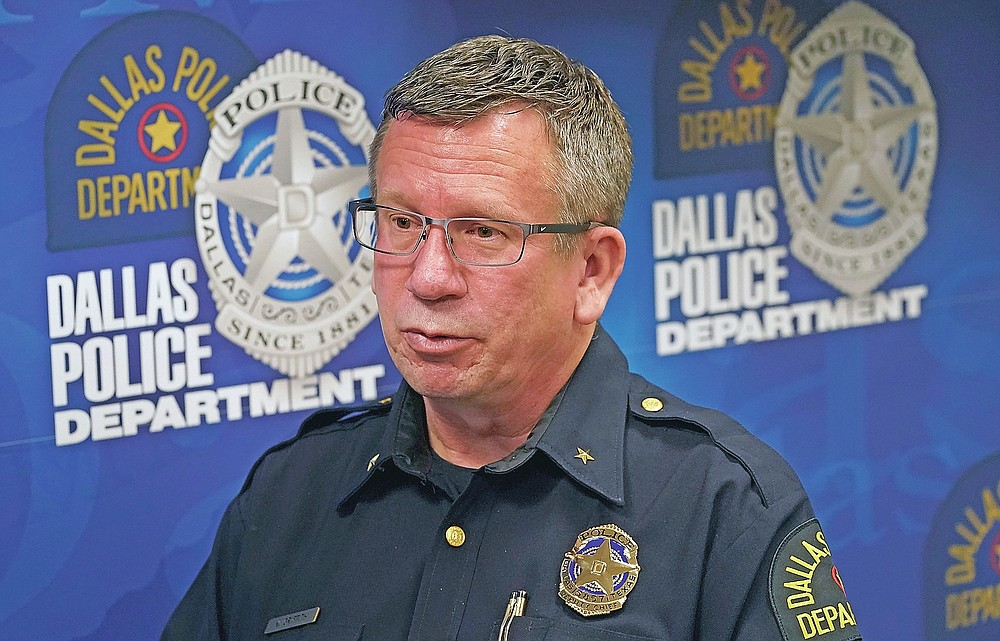 In this May 11, 2021, photo Dallas deputy police chief William Griffith speaks about recruiting cadets for the department during an interview in Dallas. (AP Photo/LM Otero)