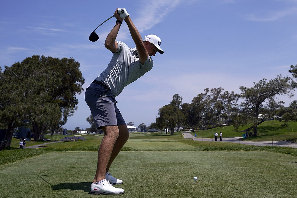 Adrian Meronk, of Poland, hits from the 18th tee during a practice round of the U.S. Open Golf Championship, Tuesday, June 15, 2021, at Torrey Pines Golf Course in San Diego. (AP Photo/Marcio Jose Sanchez)