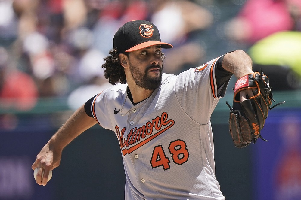 Baltimore Orioles starting pitcher Jorge Lopez delivers in the first inning of a baseball game against the Cleveland Indians, Thursday, June 17, 2021, in Cleveland. (AP Photo/Tony Dejak)