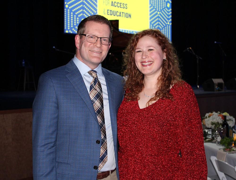 John and Sarah Haman, T2 2021 Arts Educator Award honoree, attend the group's benefit gala.  (NWA Democrat-Gazette/Carin Schoppmeyer)
