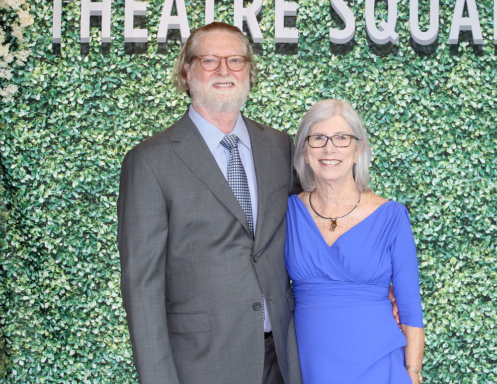 Joel and Lynn Carver, T2 2021 Arts Advocate Award recipients, stand for a photo at the June 3 gala in Fayetteville.  (NWA Democrat-Gazette/Carin Schoppmeyer)