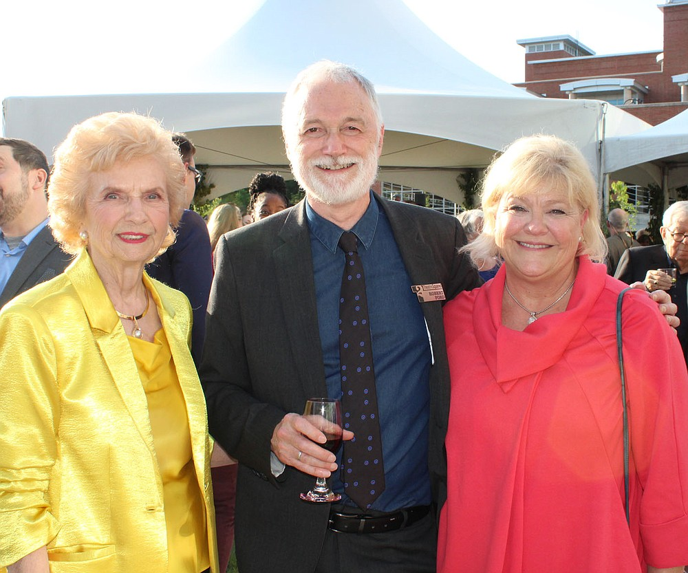 Margaret Whillock (from left); Bob Ford, TheatreSquared creative director; and Ann Rosso visit at the Gala for Education and Access.  (NWA Democrat-Gazette/Carin Schoppmeyer)
