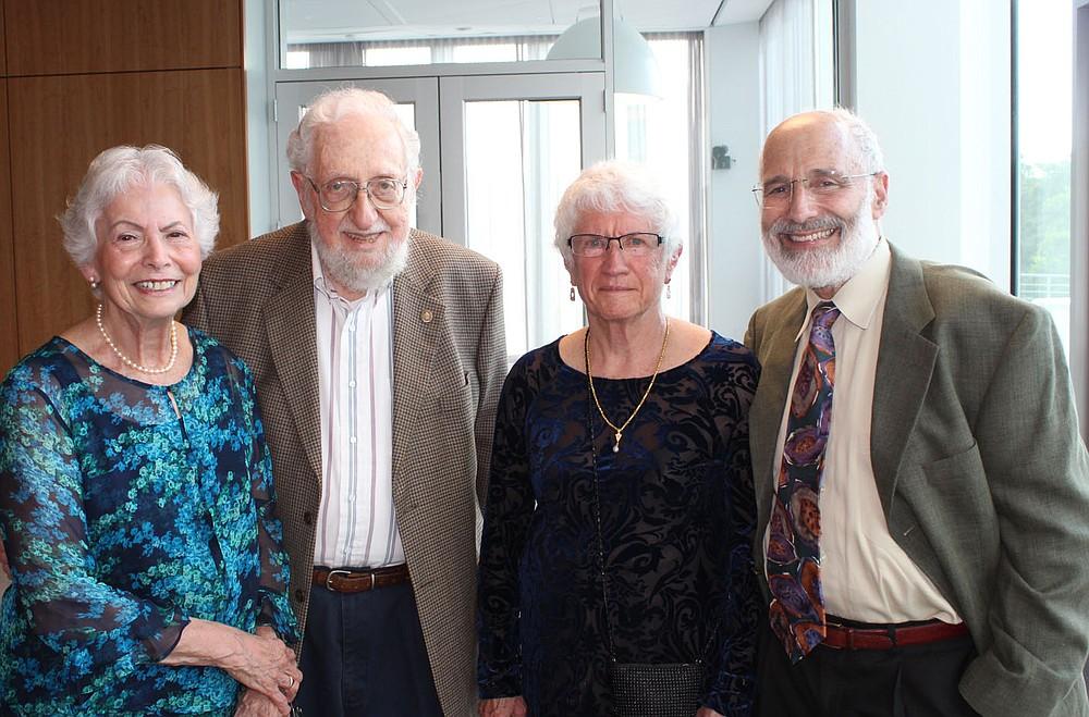 Eileen and Mike Lieber (from left) and Joyce and Bill Feldman enjoy the TheatreSquared benefit.  (NWA Democrat-Gazette/Carin Schoppmeyer)